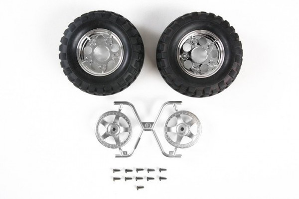 Tamiya CC-01 Rock Block Tires w/5 Spoke Wheels (2ks) (1)
