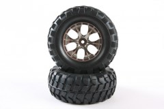 (54483) RC Rock Block Tires - w/Tapered 6-Spoke Wheels (1 pár)